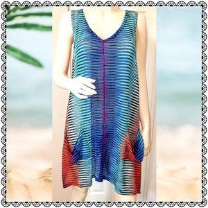 {India Boutique} multicolor knit swim coverup, OS